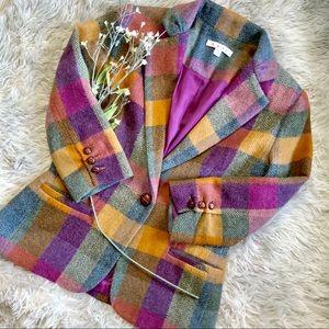 CAbi Happy Blazer 927 Herringbone Plaid Wool Blend